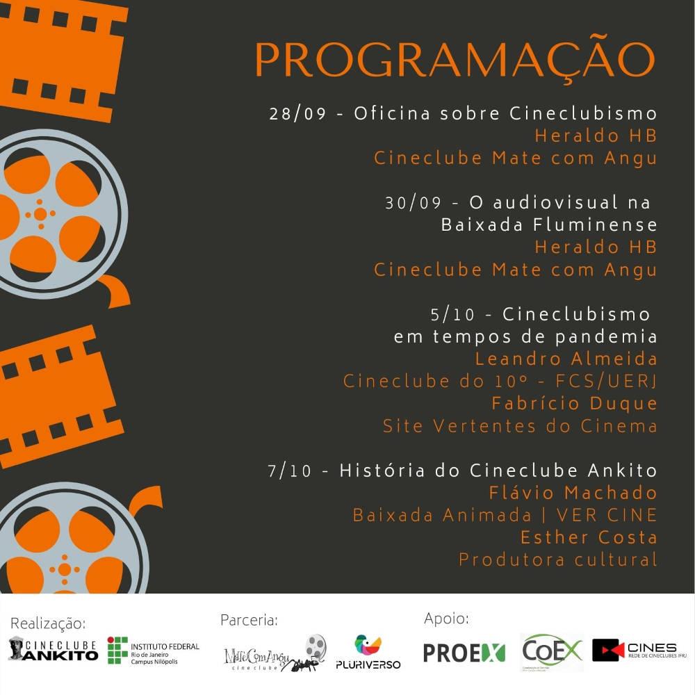 Curso de extensão Cineclubismo: Trajetórias e Desafios. Cineclube Mate Com Angu, cineclube Ankito, IFRJ Nilópolis